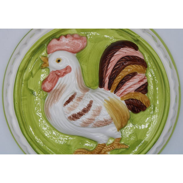 Lime Vintage Country French Farmhouse Ceramic Rooster Hanging Mold For Sale - Image 8 of 11