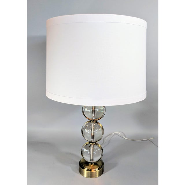 Global Views Crystal Ball Lamp in Brass With Linen & Gold Lined Shade - a Pair For Sale - Image 9 of 13