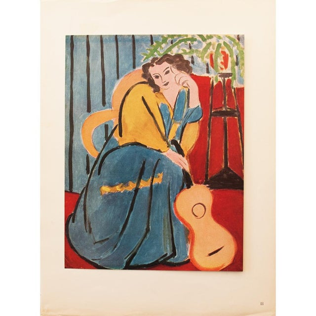 """Blue 1946 Henri Matisse Original """"Seated Woman With a Guitar"""" Parisian Period Lithograph For Sale - Image 8 of 8"""