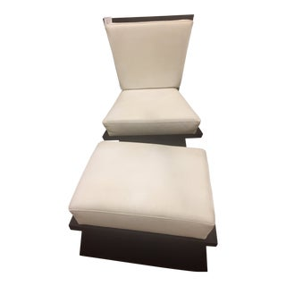 Contemporary Matt Decell White Leather Wooden Chair and Ottoman Set For Sale