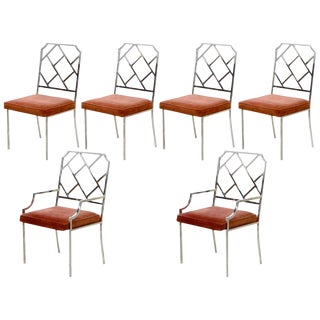 Mid 20th Century Chippendale Milo Baughman Chrome Dining Chairs - Set of 6