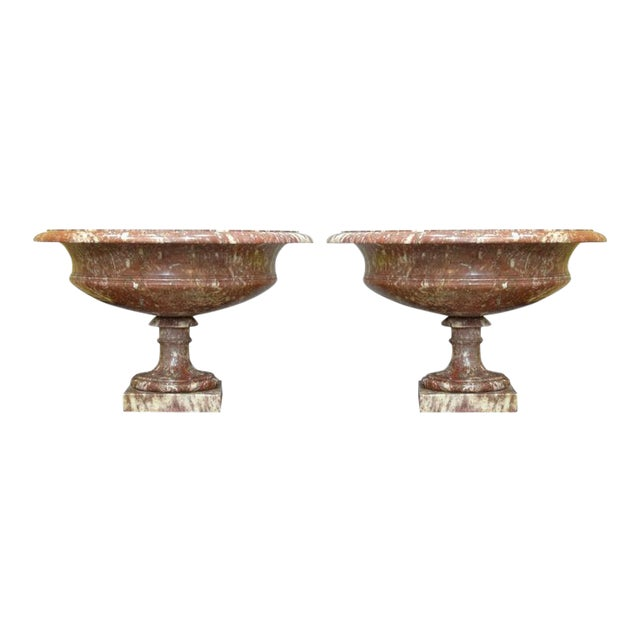 19th Century Turned Rossa Verona Marble Tazzas - A Pair For Sale