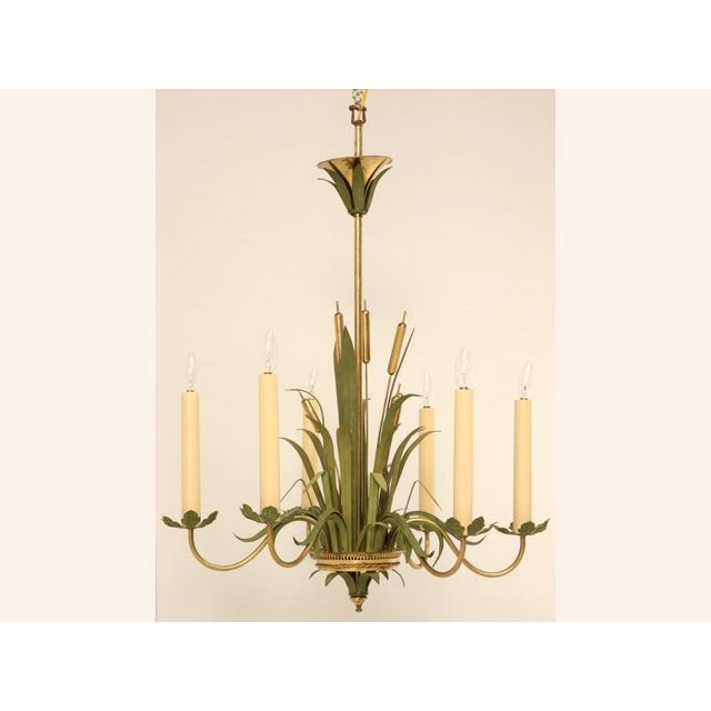 Interesting and unusual vintage continental (French, Italian, or ??) metal 6 light chandelier with green grasses and brass...