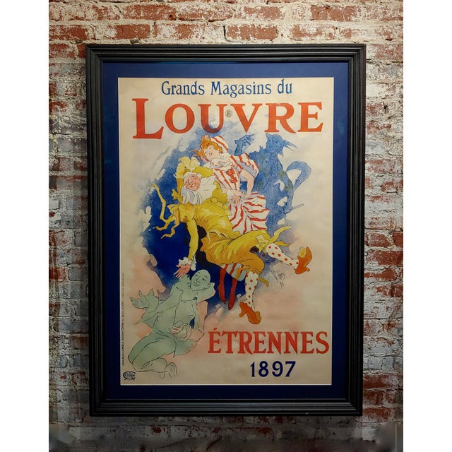 Glass Grands Magasins Du Louvre -Original 1897 French Poster by Jules Cheret For Sale - Image 7 of 11