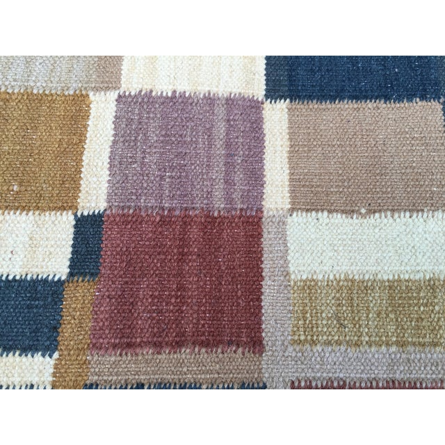 Geometric Indian Dhurrie Wool Rug - 4' x 6' - Image 5 of 8