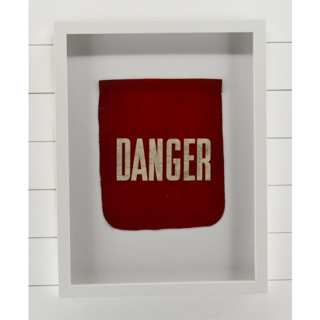 Vintage rare Danger Flag. Professionally framed in our all wood shadow box frame with acrylic, not glass.. FUN! Do a wall...