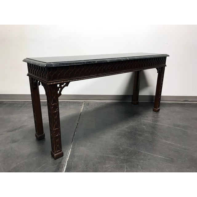 Vintage Carved Mahogany & Tessellated Marble Sofa Table attr to Maitland Smith - Image 9 of 11