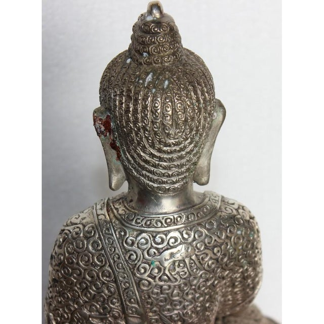 Silver Plated Sitting Buddha For Sale - Image 4 of 7