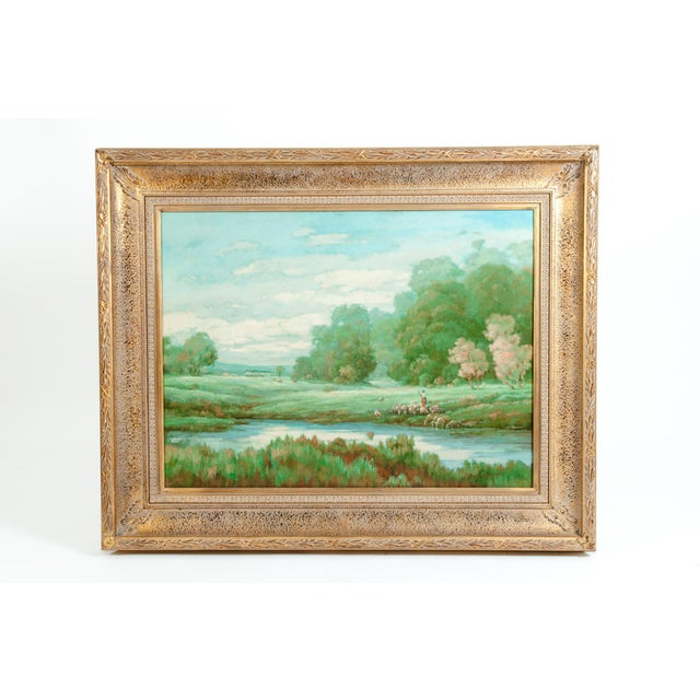 """Canvas Large """"Green Meadow"""" Giltwood Framed Oil / Canvas Painting For Sale - Image 7 of 7"""