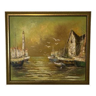 Signed K DeLong Framed Oil Painting of a Harbor at Sunset For Sale