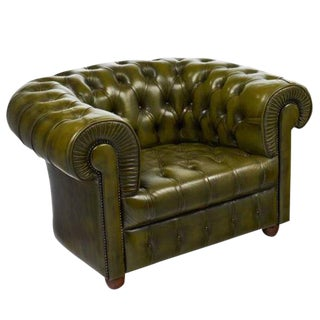 Vintage Chesterfield Green Leather Club Chair