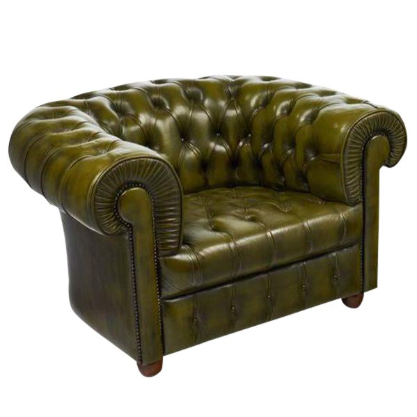 Vintage Chesterfield Green Leather Club Chair For Sale