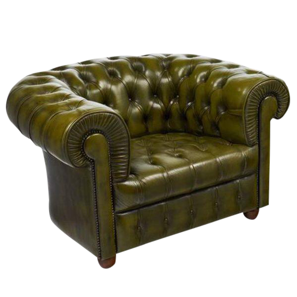 Exceptionnel Vintage Chesterfield Green Leather Club Chair For Sale