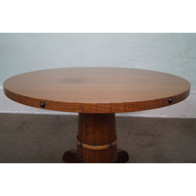 Vintage Oak Round Barrel Base Coffee Table For Sale - Image 10 of 10