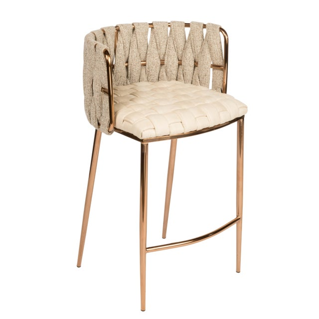 Modern Milano Off White and Gold Counter Chair For Sale - Image 4 of 4