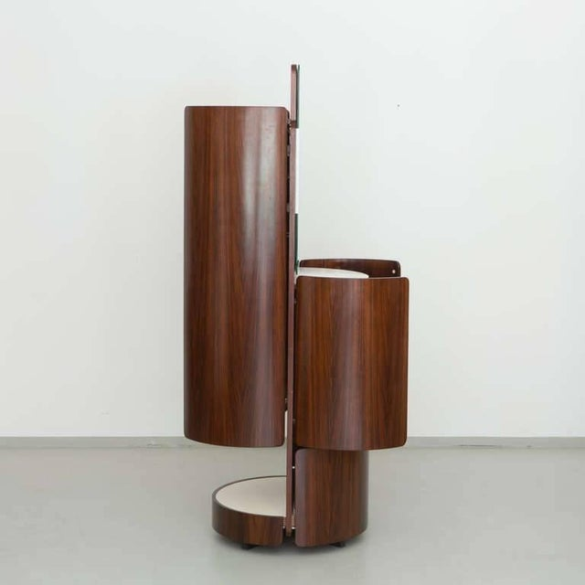 Italian Round Italian Swivel Fold-Out Wardrobe or Vanity in Wood by Fiarm, 1960s For Sale - Image 3 of 5