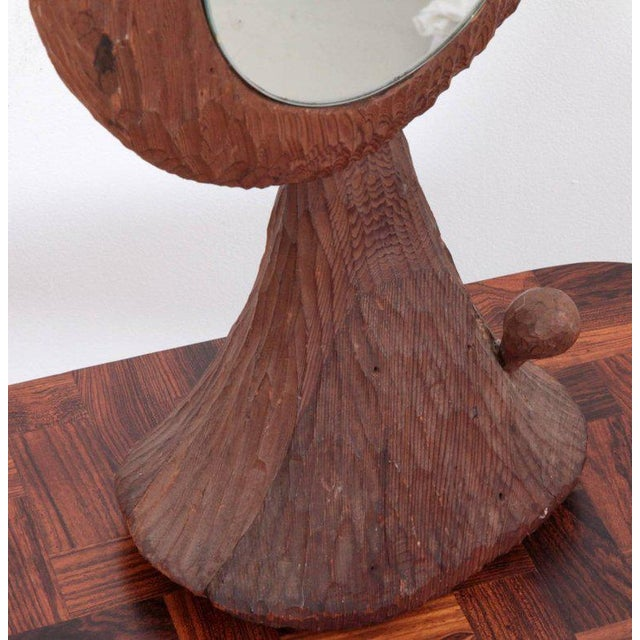 Mid-Century Modern American Midcentury Redwood Sculpture Mirror by Jdmz Signed For Sale - Image 3 of 6