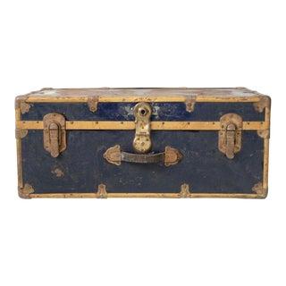 Antique Blue Metal Trunk