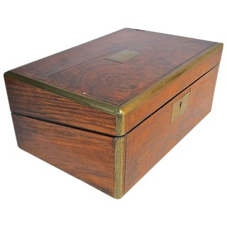 19th Century English Rosewood and Brass Writing Box For Sale