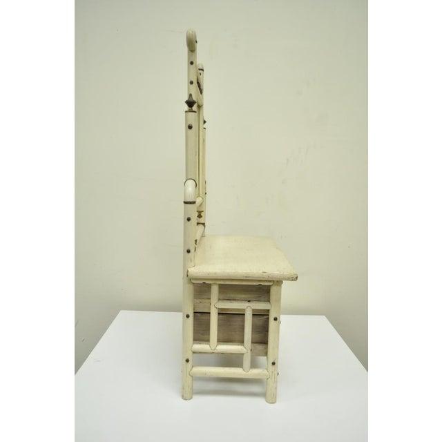 "30"" H Antique Arts & Crafts Salesman Sample Bentwood Painted Dresser & Mirror For Sale - Image 10 of 11"