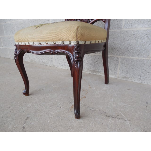 Vintage French Louis XV Style Carved Mother of Pearl Inlay Vanity Chair For Sale In Philadelphia - Image 6 of 10