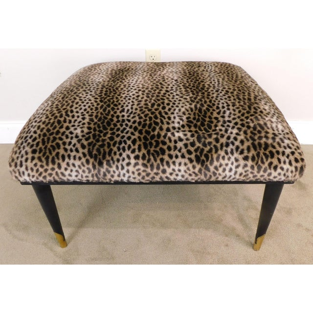 1960s Mid Century Modern Square Cheetah Print Ottoman For Sale - Image 5 of 13