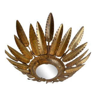 Mid 20th Century Spanish Leaf Sunform Flush Mount For Sale
