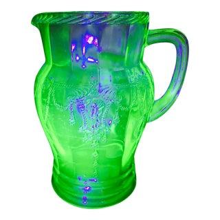 1930s Green Uranium Depression Glass Pitcher Carafe For Sale