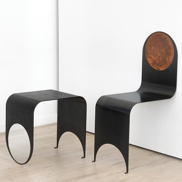Not Yet Made - Made To Order Contemporary Blackened Steel and Oxidized Steel Thin Chair For Sale - Image 5 of 5