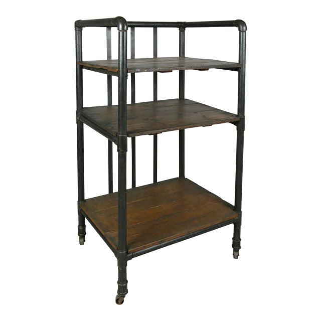 Antique 1950s Industrial Cast Iron Rolling Cart Bookcase For Sale