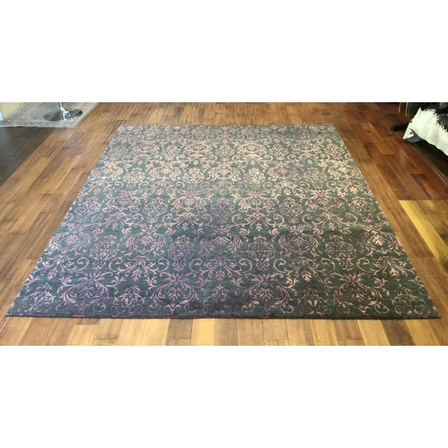 Contemporary Damask pattern rug in charcoal and plum. Custom made orders for color and size are invited.
