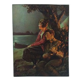 "1930s Vintage ""Serenade"" Hy. Hintermeister Mounted Print For Sale"