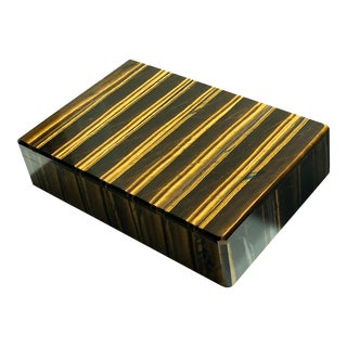 1960s Vintage Italian Tiger Eye Lapidary Stone Box For Sale