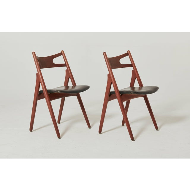 Teak Set of Six Hans Wegner Ch-29 Sawbuck Dining Chairs, Carl Hansen, Denmark For Sale - Image 7 of 13