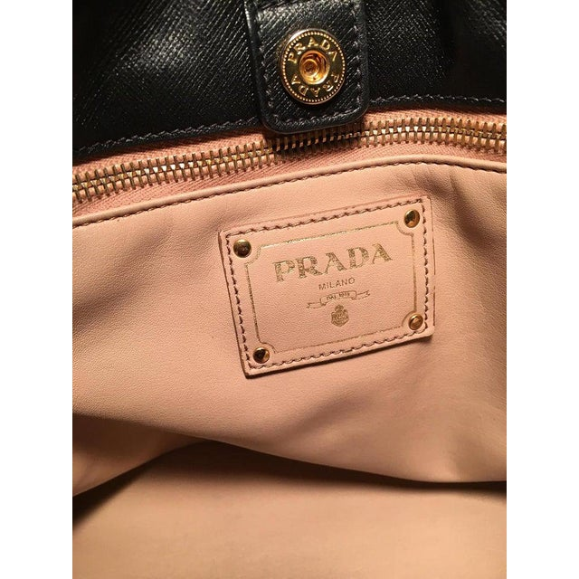 Prada Black Leather Saffiano Top Handle Tote Shoulder Bag For Sale - Image 10 of 11
