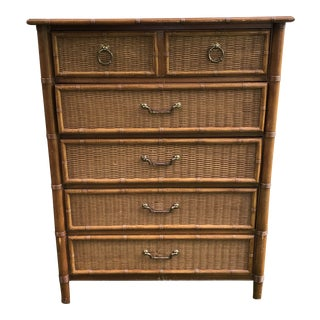 1960s Boho Chic Dixie Rattan & Bamboo Chest of Drawers For Sale