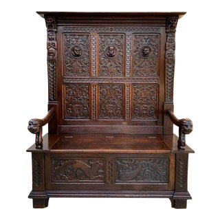 Antique French Carved Oak Hall Bench For Sale