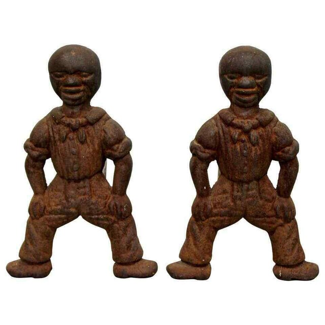 Metal Antique Brutalist Iron African Art Male Figurine Fireplace Log Andirons - A Pair For Sale - Image 7 of 7