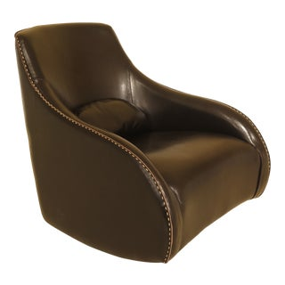 Modern Design Stitched Brown Leather Rocking Chair For Sale