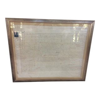 1837 Framed English Document For Sale