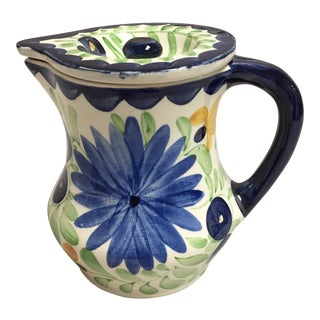 Vintage Persian Ware Hand Painted Floral Pitcher and Lid For Sale