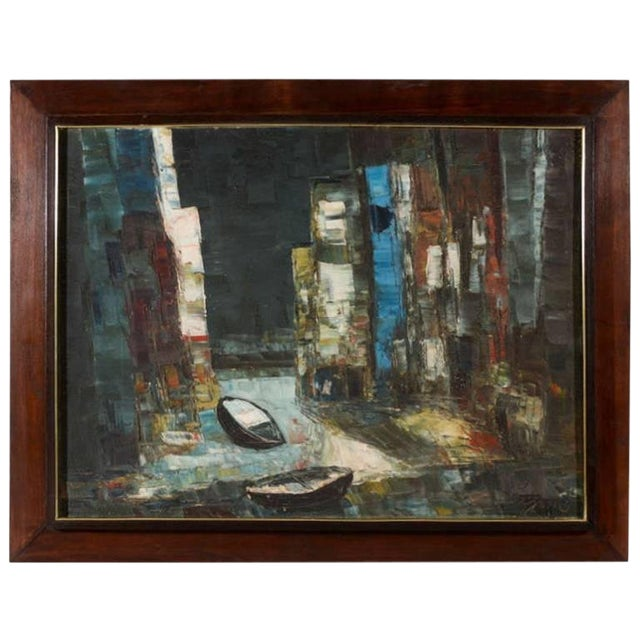 Vintage Abstract Painting of Rowboats in Original Wood Frame For Sale