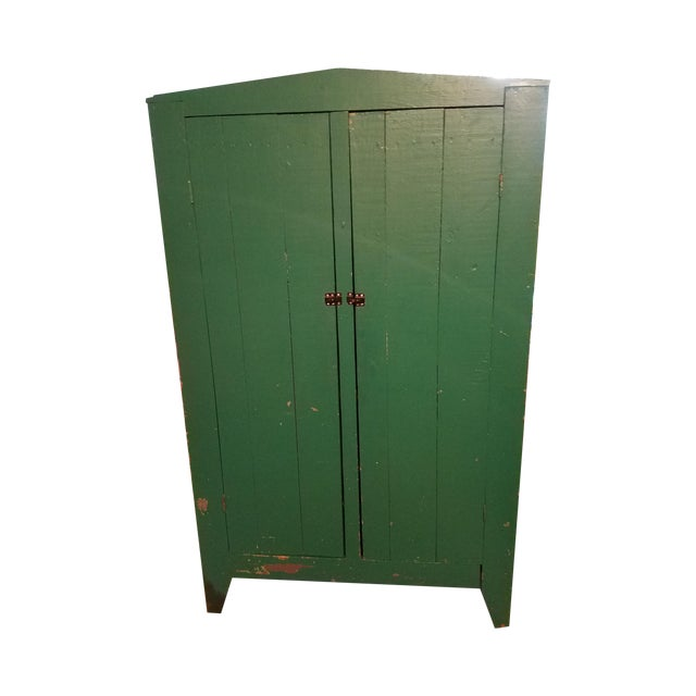 Antique Green Primitive Cupboard - Image 1 of 3