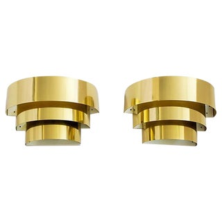 Brass 3-Tier Sconces by Lightolier - Pair For Sale