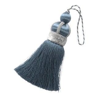 Blue Key Tassel With Cut Velvet Ruche For Sale