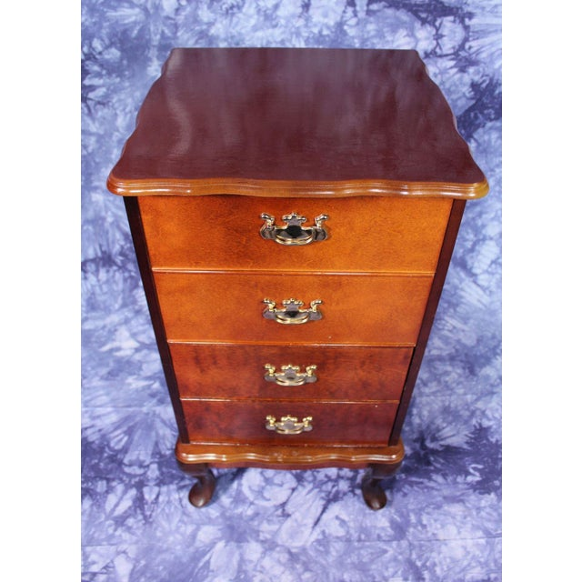 Queen Anne Queen Anne Style Filing Cabinet Nightstand Chest of Drawers For Sale - Image 3 of 10