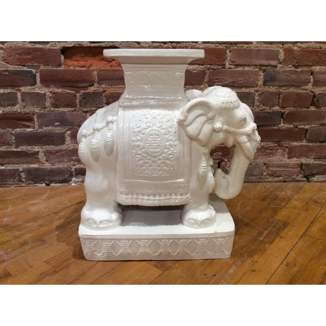 Hollywood Regency Vintage White Glazed Pottery Elephant Tables/Stands - a Pair For Sale - Image 3 of 8