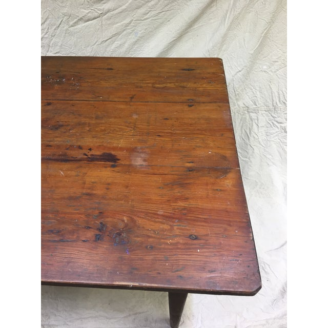 Vintage Rustic Hand Made Farm Table For Sale - Image 4 of 11