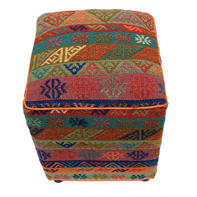 Chic handmade ottoman crafted using wood and upholstered using hand-knotted Soumakh wool rug is a multi-purpose fashion...
