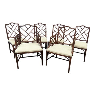 Set of 6 Faux Bamboo Dining Chairs For Sale